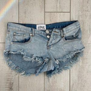 One Teaspoon size 26 distressed denim /jean shorts
